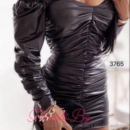 Секси дамска кожена рокля с набрани елементи