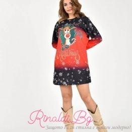 Дамска коледна рокля с еленче