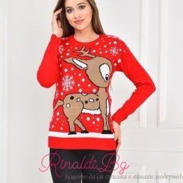 Дамски коледен пуловер Еленче