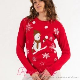 Дамски празничен пуловер Снежен човек