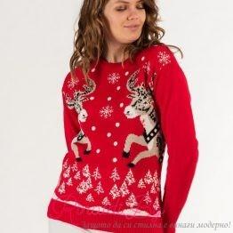 Дамски празничен пуловер с еленчета