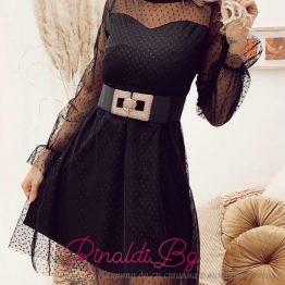 Дълга дамска рокля с тюл