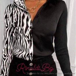 Дамска риза в черно и бяло