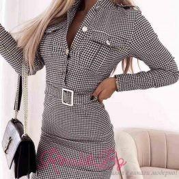 Дамска рокля каре с колан