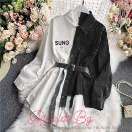 Дамска риза-рокля в черно и бяло