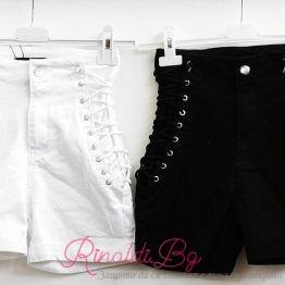 Дамски дънкови панталонки с връзки