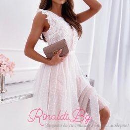 Дамска бяла дантелена рокля