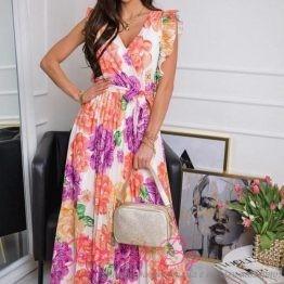 Дамска дълга лятна рокля с флорални мотиви Beauty