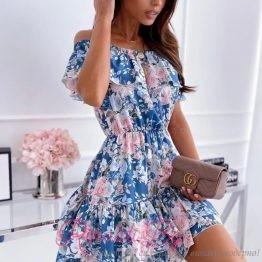 Дамска рокля с флорални мотиви и паднали рамене Candy Girl