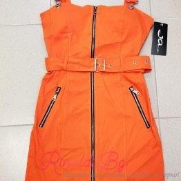 Дамска рокля с колан в оранжево
