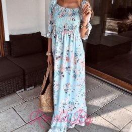 Дамска дълга рокля с флорални мотиви Лилия