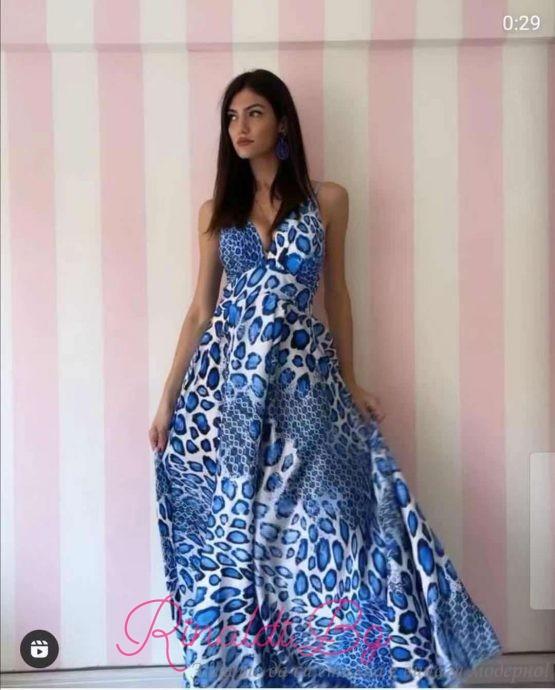 Дамска дълга рокля с леопардови елементи