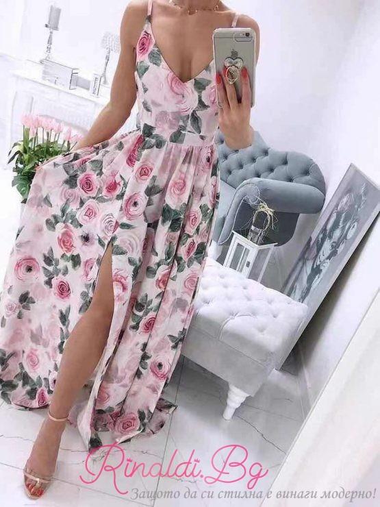 Дамска рокля с цепка и елементи с рози