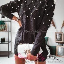 Дамски пуловер с перли