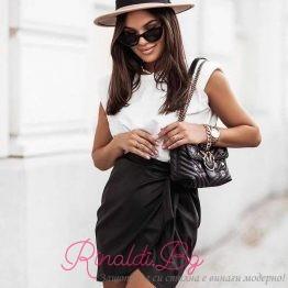Дамска кожена пола с панделка