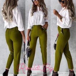Дамски панталон със златни копчета и висока талия
